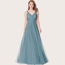 Kleid mit V Ausschnitt und Netzstoff