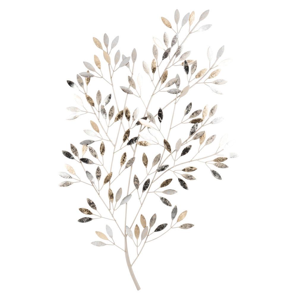 Wanddeko Zweige aus silberfarbenem Metall 56x84