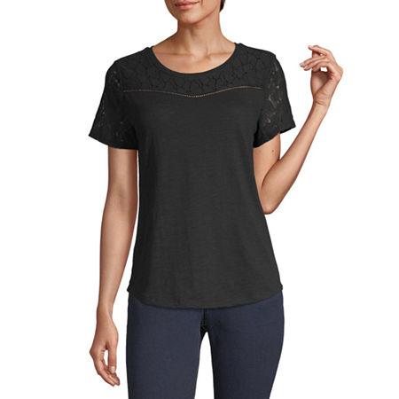 Liz Claiborne-Womens Round Neck Short Sleeve T-Shirt, Large , Black