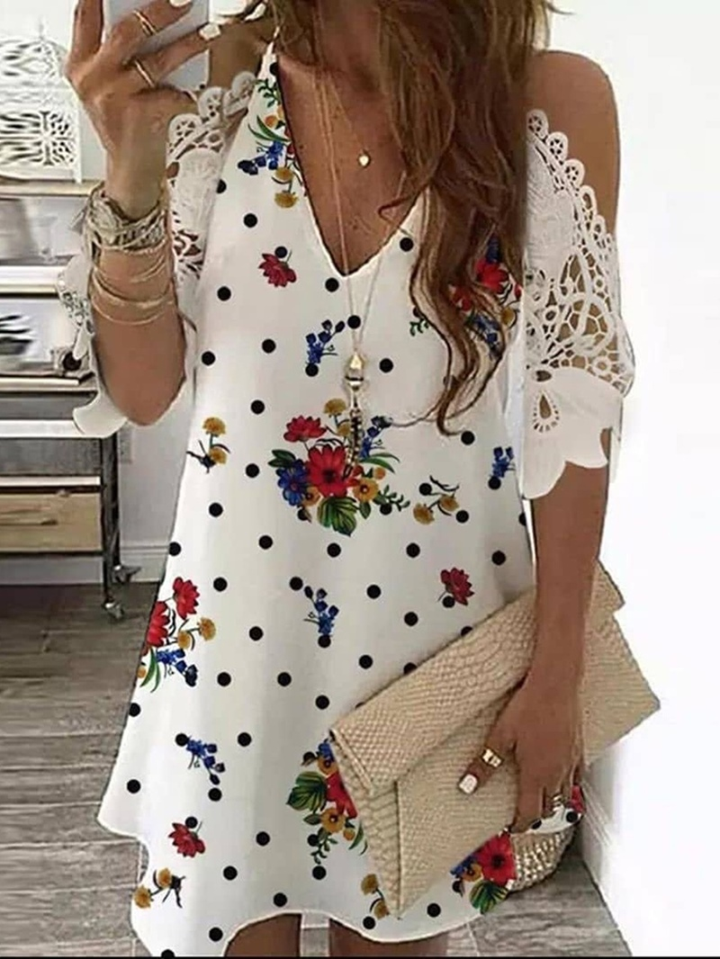 Ericdress V-Neck Floral Print Long Short Sleeve Blouse