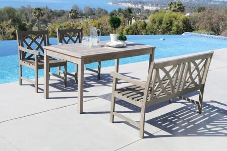 Renaissance V1297SET20 4 PC Outdoor Dining Set with Rectangle Table  4-Foot Bench  2 Armchairs  Acacia and Hand-Scraped Hardwood Materials in Grey