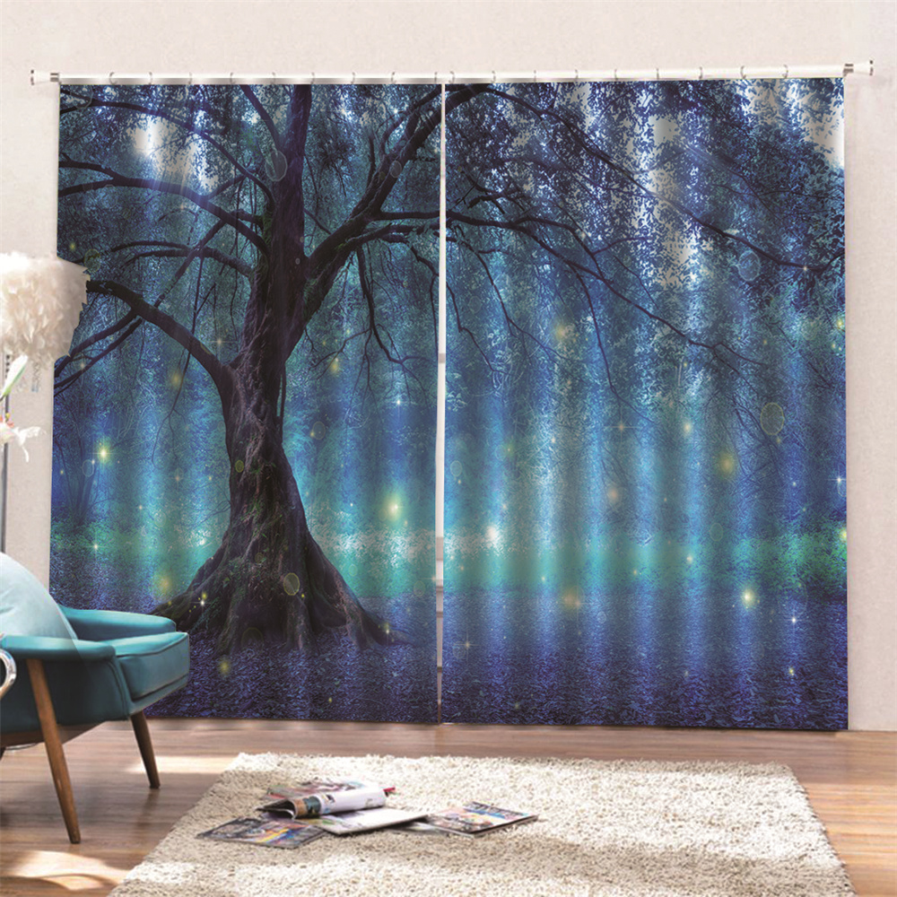 3D Digital Scenery Print Blackout Ready Made Curtains For Living Room Bedroom