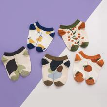 5 pares calcetines con patron de flor