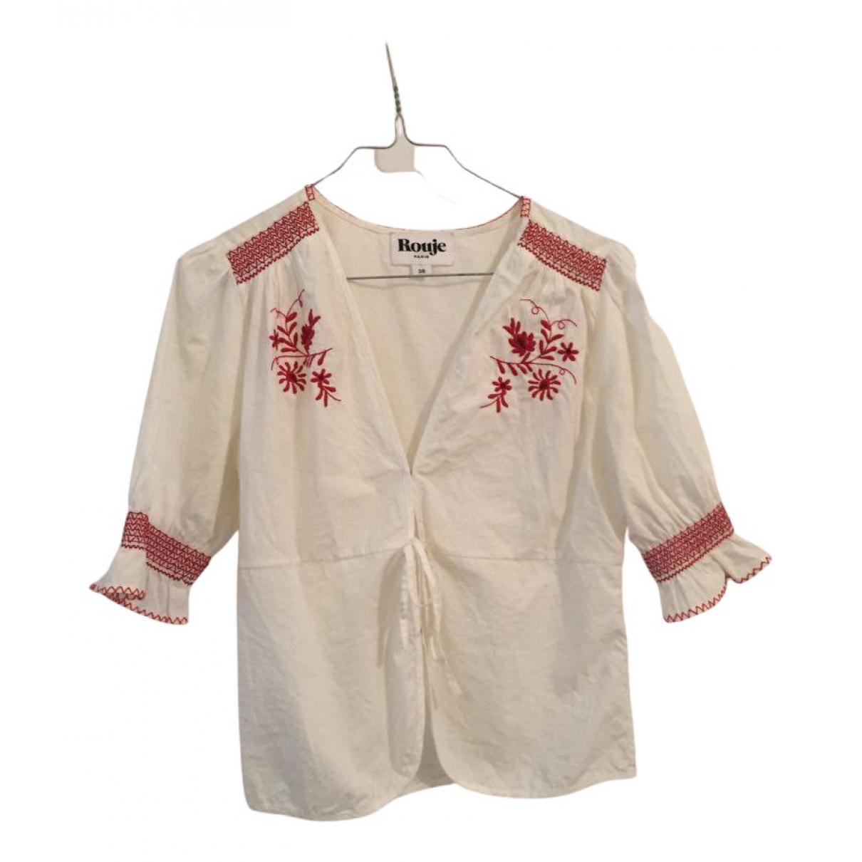 Rouje - Top   pour femme en coton - blanc
