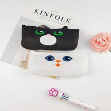 1 Stueck Zufaelliges Silikon Maeppchen mit Katze Muster