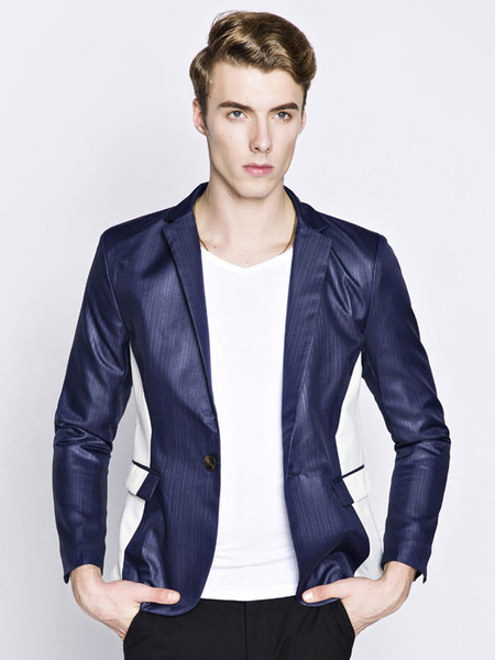 Milanoo Men Blazer Casual Color Block Spring Jacket Turndown Collar Long Sleeve Short Jacket