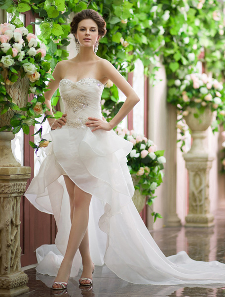 Milanoo Ivory A-line Sweetheart Neck Beach Wedding Dress