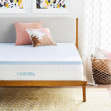 Linenspa 2 Inch Gel Memory Foam Mattress Topper, One Size , Blue