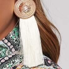 1pair Round Decor Tassel Drop Earrings
