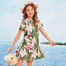 Girls Keyhole Back Ruffle Hem Tropical Print Dress