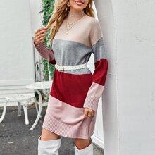 Mock-neck Drop Shoulder Sweater Dress Without Belt