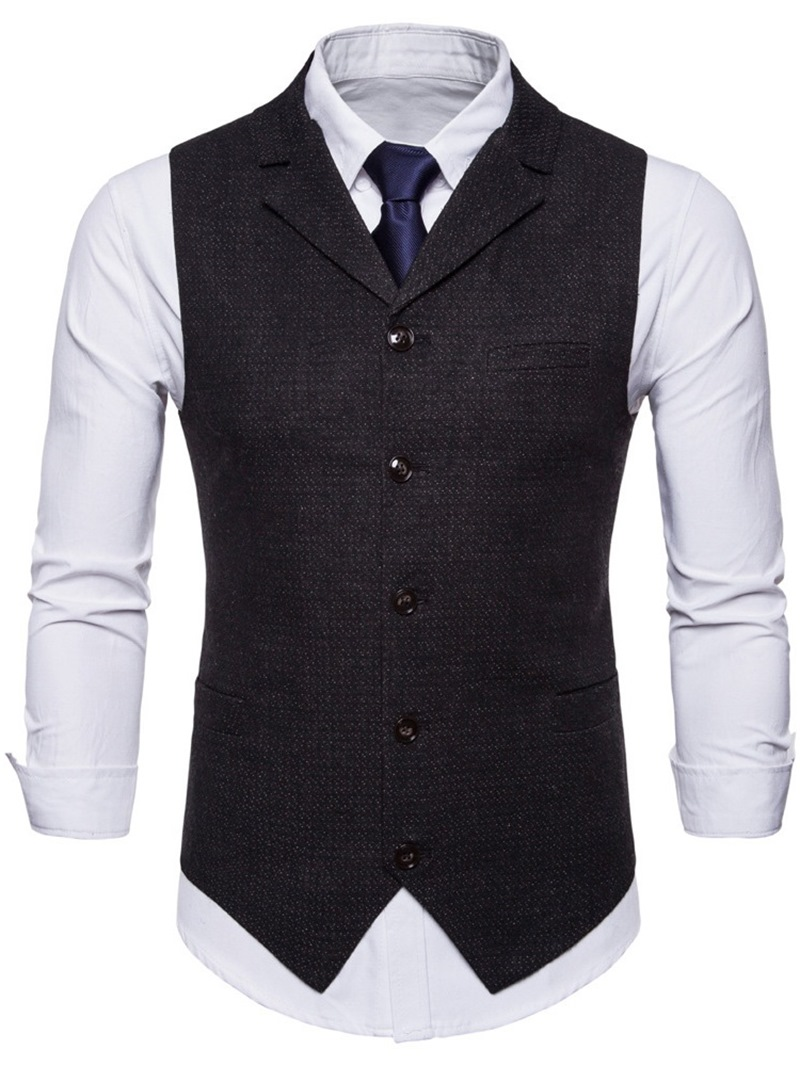 Ericdress Plaid Plain Lapel Mens Casual Dress Vest