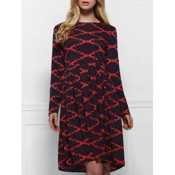 Retro Style Rhombus Printed High Waist Long Sleeve Ball Gown Dress For Women