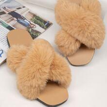 Fuzzy Faux Fur Crisscross Vamp Slippers