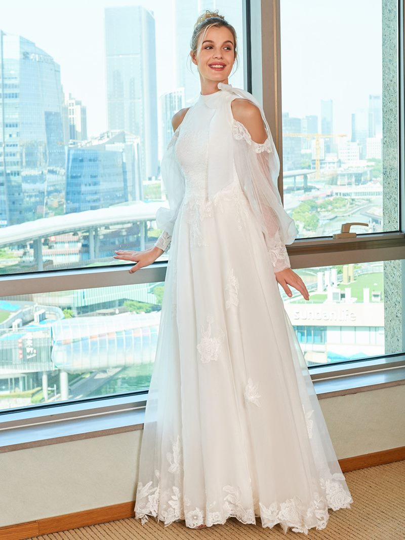 Ericdress Bowknot Appliques Open Shoulder Wedding Dress