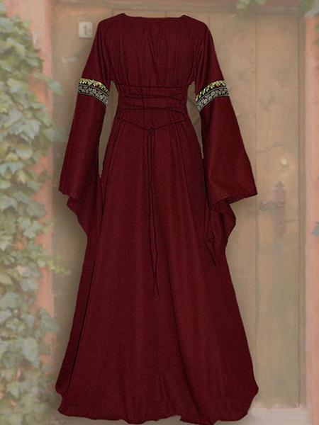 Milanoo Vestido vintage 1950s botones rojos en capas mangas cortas cuello vuelto vestido plisado con vuelo