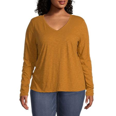 a.n.a Plus-Womens V Neck Long Sleeve T-Shirt, 3x , Brown