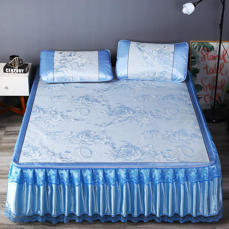 Jacquard Summer Sleeping Mat Set 3-Piece Cool Bed Skirts Set with 2 Pillowcases