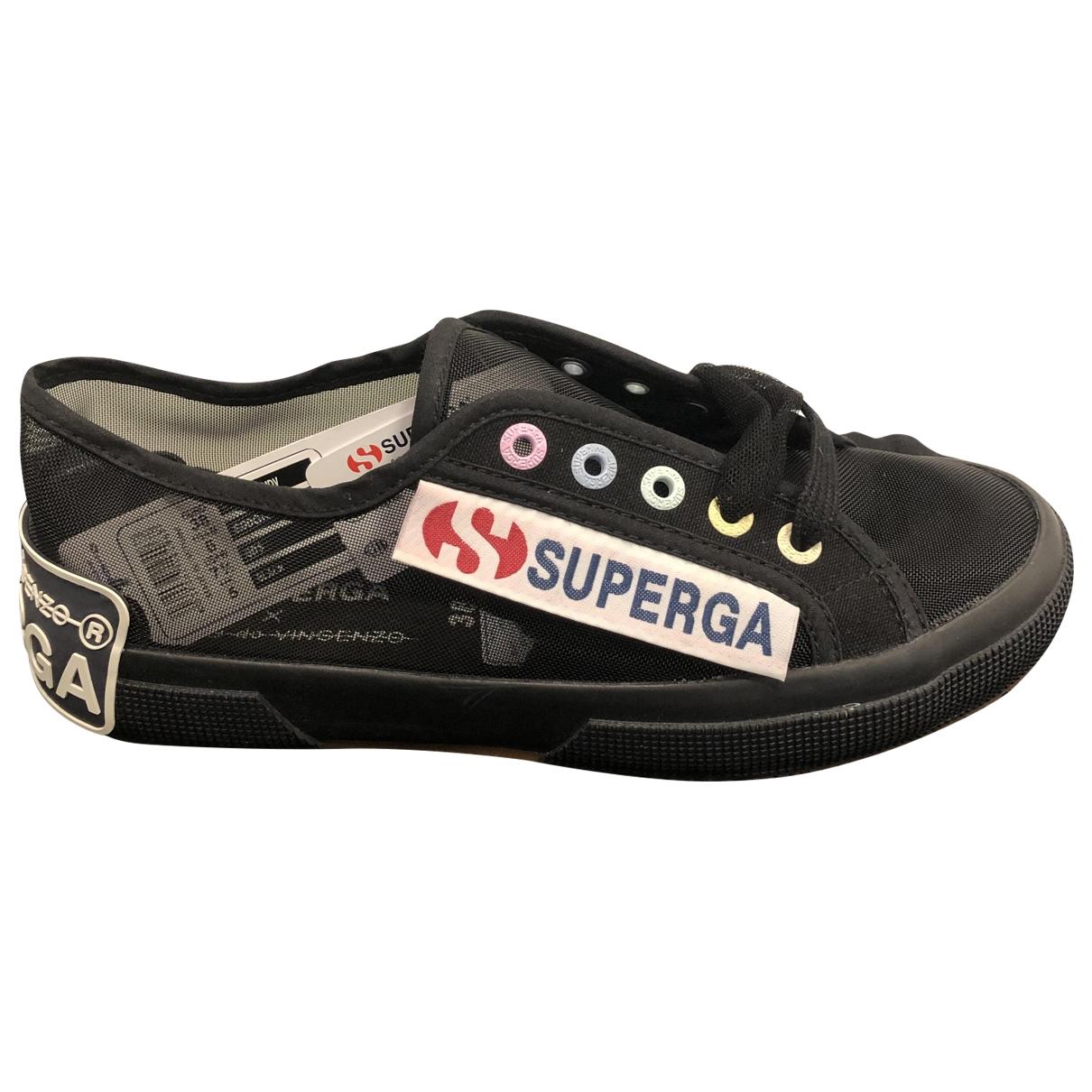 Superga - Baskets   pour femme en toile - noir