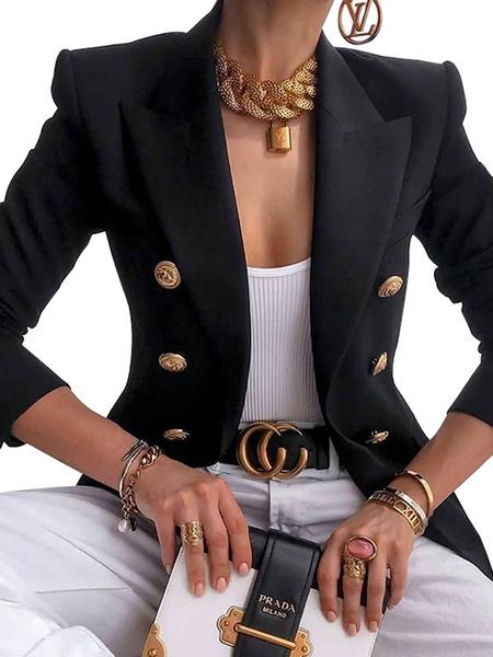 Milanoo Blazer casual para mujer Cuello de cobertura blanco Botones de manga larga Blazers cortos