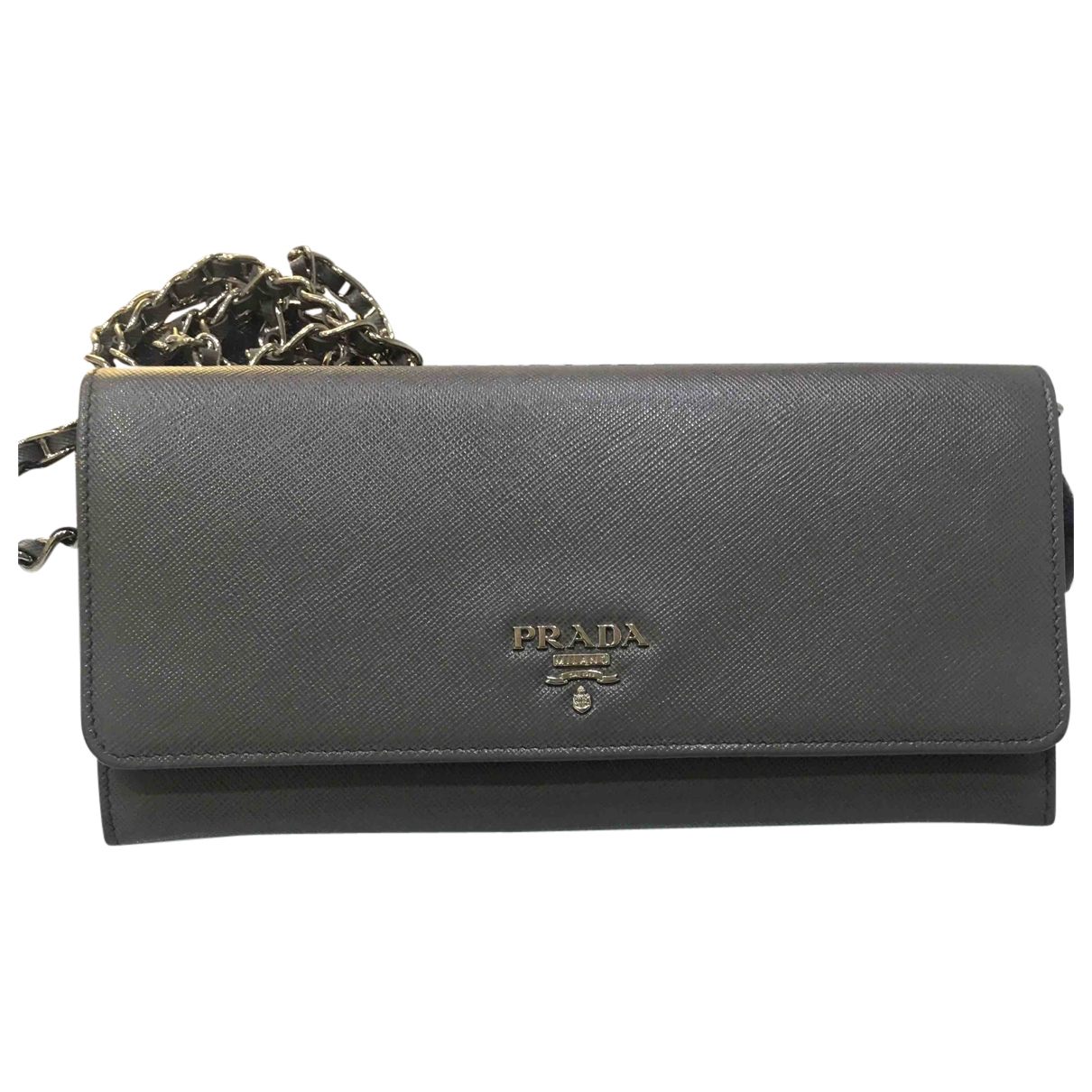 Prada \N Grey Leather Clutch bag for Women \N