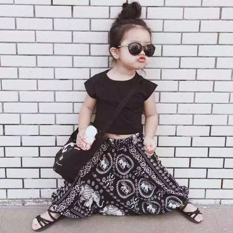 2pcs Bohemian Style Printed Girls Clothing Set Tops + Pants For 1Y-7Y