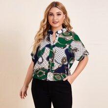Blusas Extra Grandes Geometrico Multicolor Casual