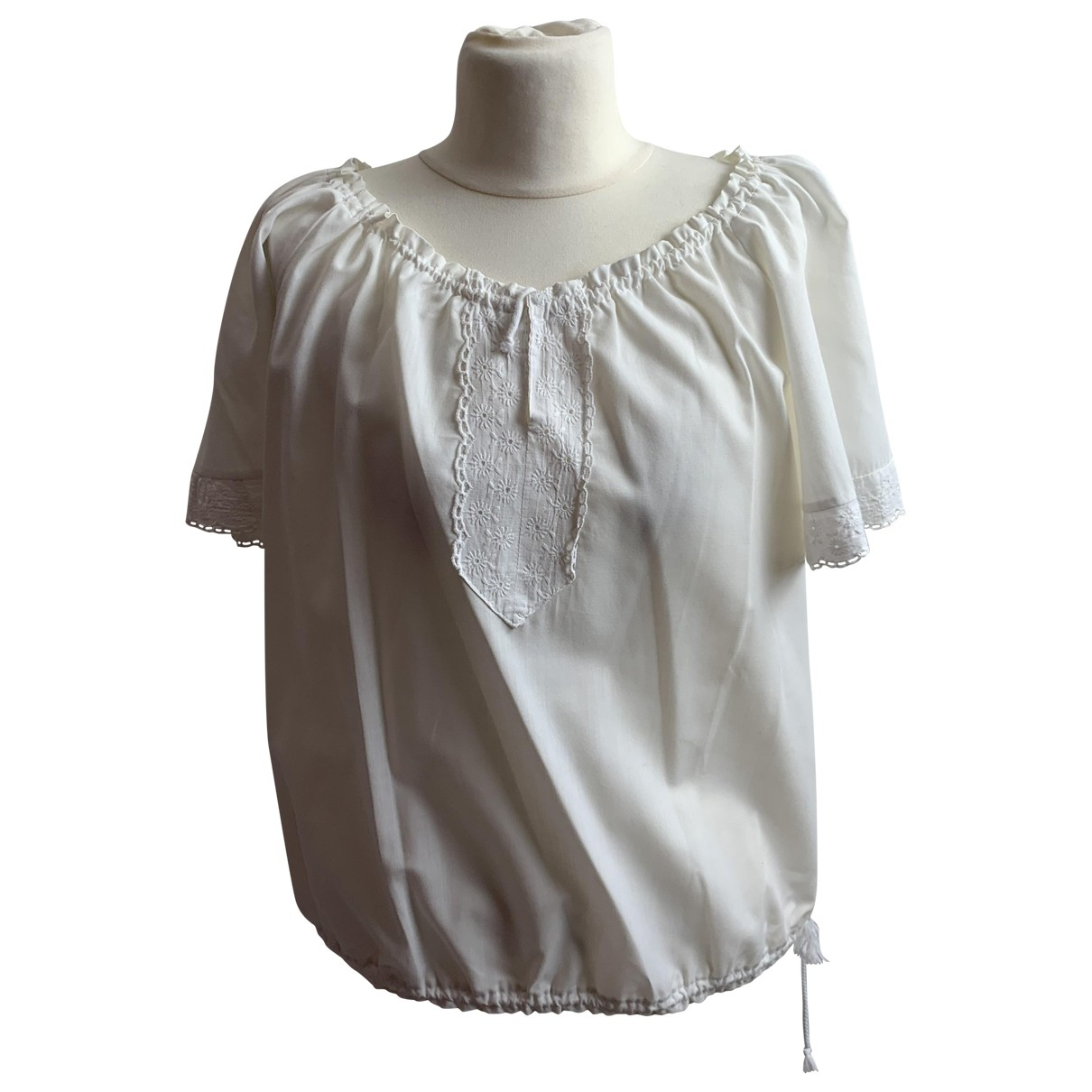 Non Signé / Unsigned \N White Cotton  top for Women 54-56 IT