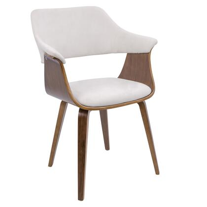 Lucci Collection CH-LUCCIWL+CR Chair with Curved Back  Mid-Century Modern Style  Tapered Walnut Wood Legs and Velvet Upholstery in Cream