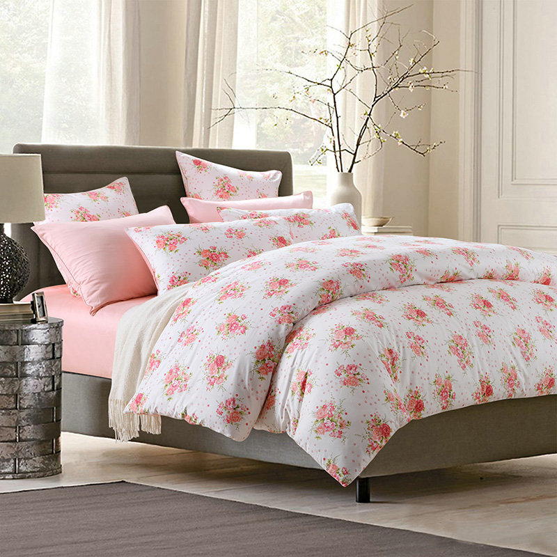 Wake In Flower Botanical Watercolor Floral Leaves Flowers Painting Reactive Printing Three-Piece Set Duvet Cover Set Polyester