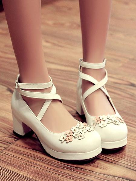 Milanoo Sweet Lolita Footwear Flowers Round Toe PU Leather Lolita Pumps