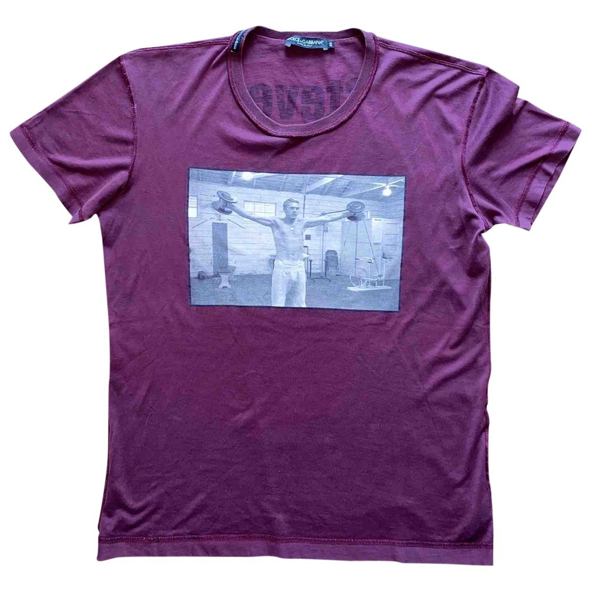Dolce & Gabbana \N Burgundy Cotton T-shirts for Men M International