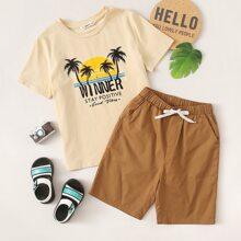 Top mit Buchstaben Grafik & Shorts mit elastischer Taille