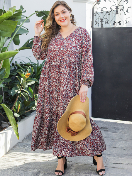 Yoins Plus Size Brown Pleated Calico V-neck Long Sleeves Dress