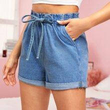 Tied Paperbag Waist Cuffed Denim Shorts
