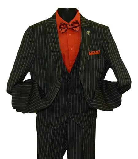 Men's Peak Lapel Striped Two Button Single Breasted Vested Suit Black