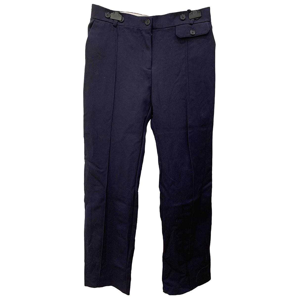 Celine \N Navy Wool Trousers for Women 38 FR