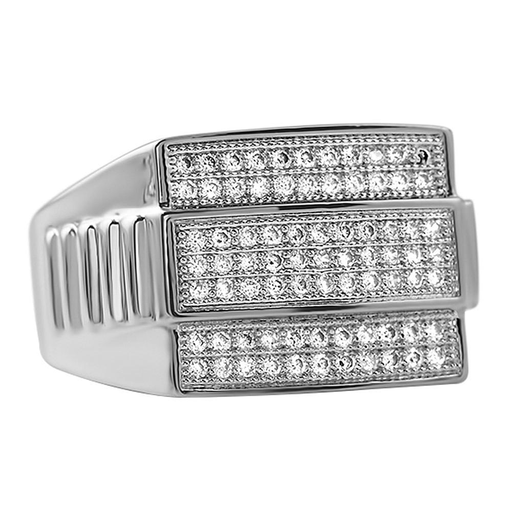 Rhodium Ribbed CZ Ring