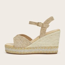 Open Toe Espadrille Ankle Strap Wedges