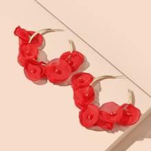 Fabric Flower Decor Earrings