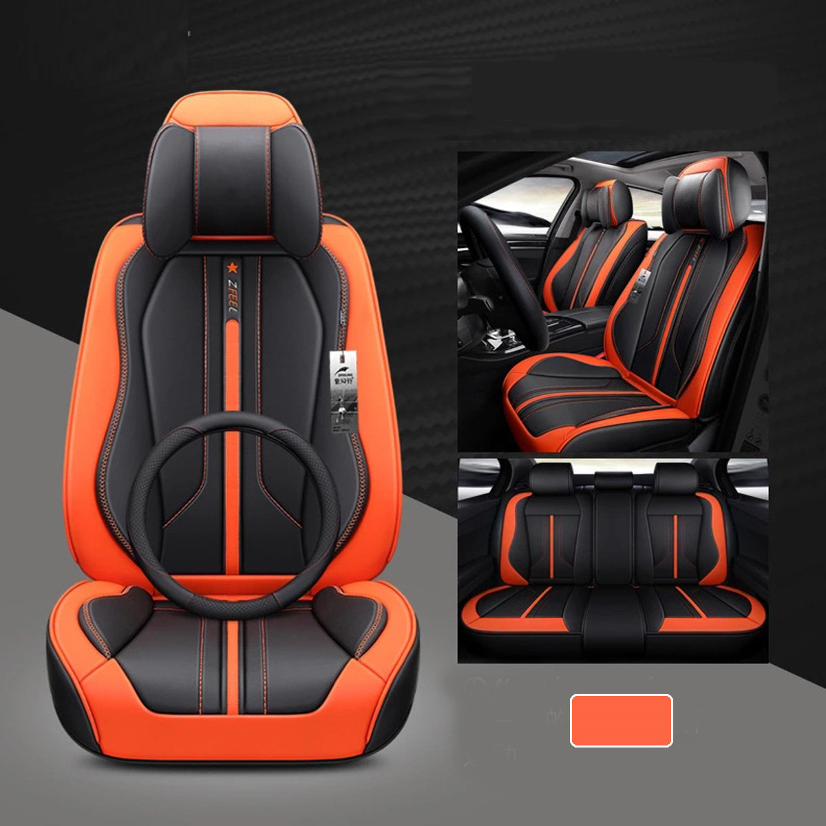 Car 5 Sits Cover Cushion Set 6D Surround Breathable Luxury Seat Protector New