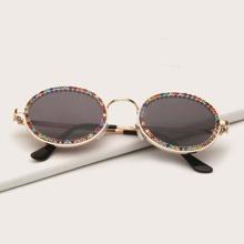 Rhinestone Metal Frame Sunglasses