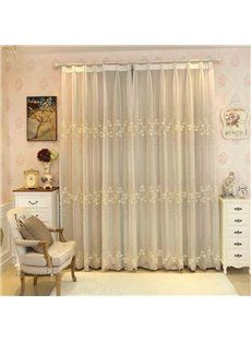 Rustic Floral Embroidery Sheer and Beige Cloth Sewing Together Curtain Sets