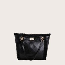 Faux Fur Panel Turn-Lock Tote Bag