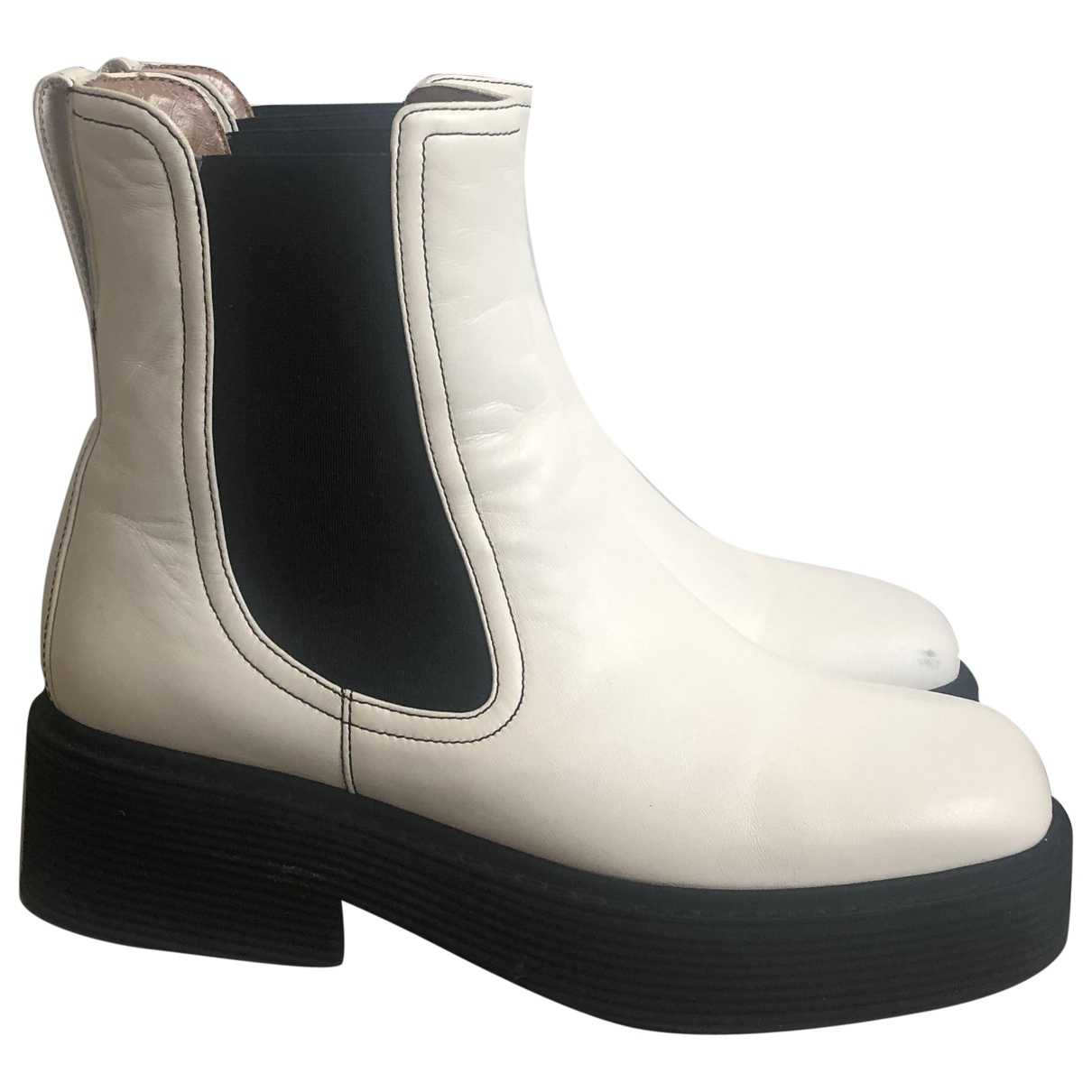 Marni \N White Leather Ankle boots for Women 38 IT