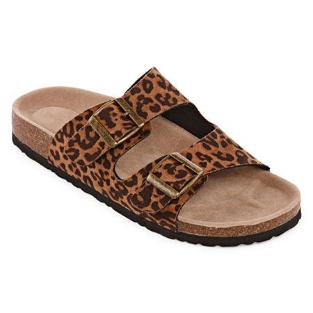 Arizona Forum Womens Criss Cross Strap Footbed Sandals, 8 Medium, Brown