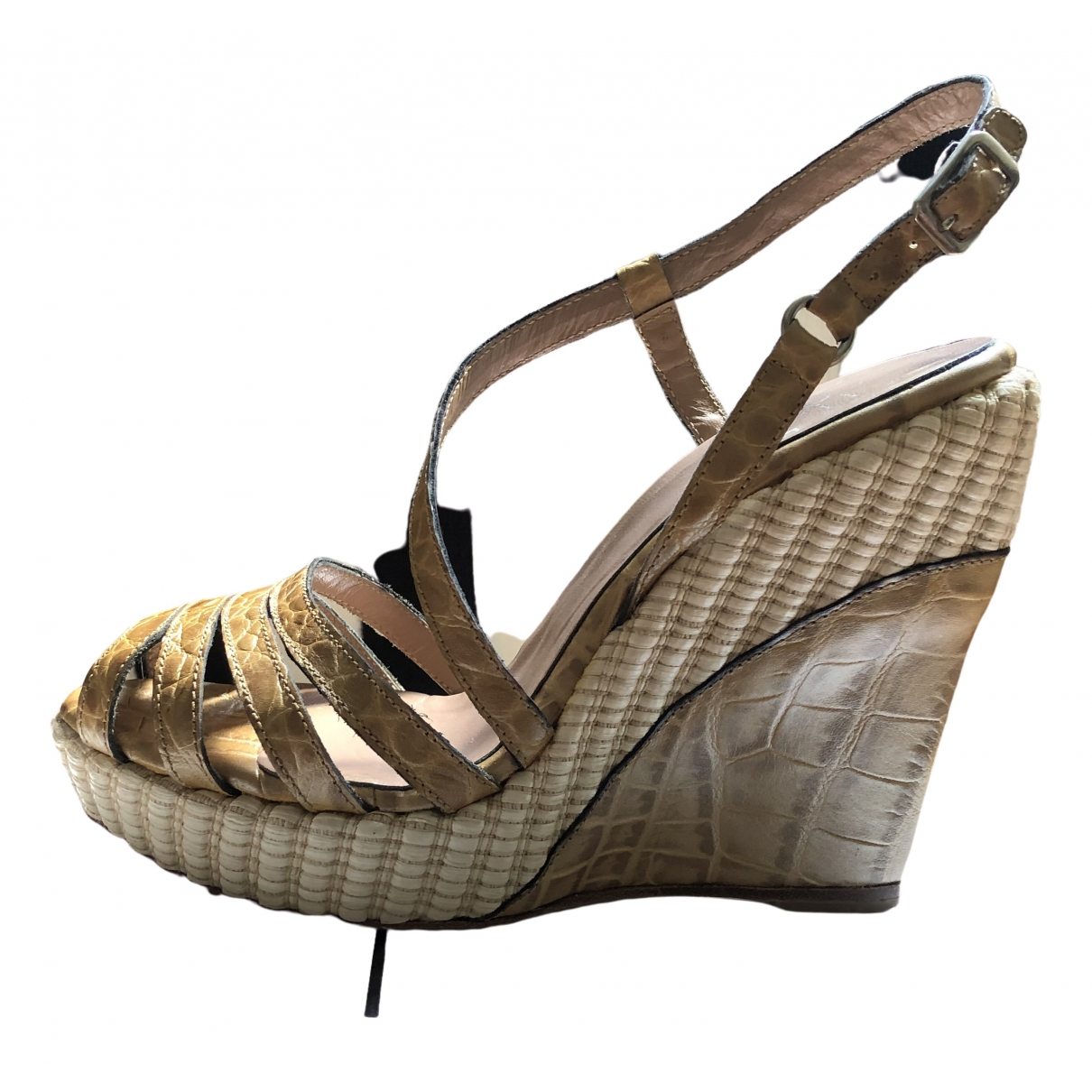 Gianfranco Ferré \N Beige Leather Sandals for Women 37 EU