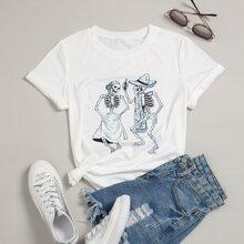 T-Shirt mit Hallonween Muster und kurzen Ärmeln