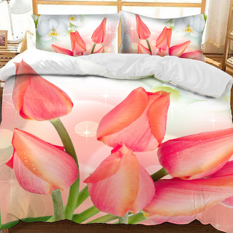 3D Pink Tulip Printed Polyester 3-Piece Bedding Sets/Duvet Covers