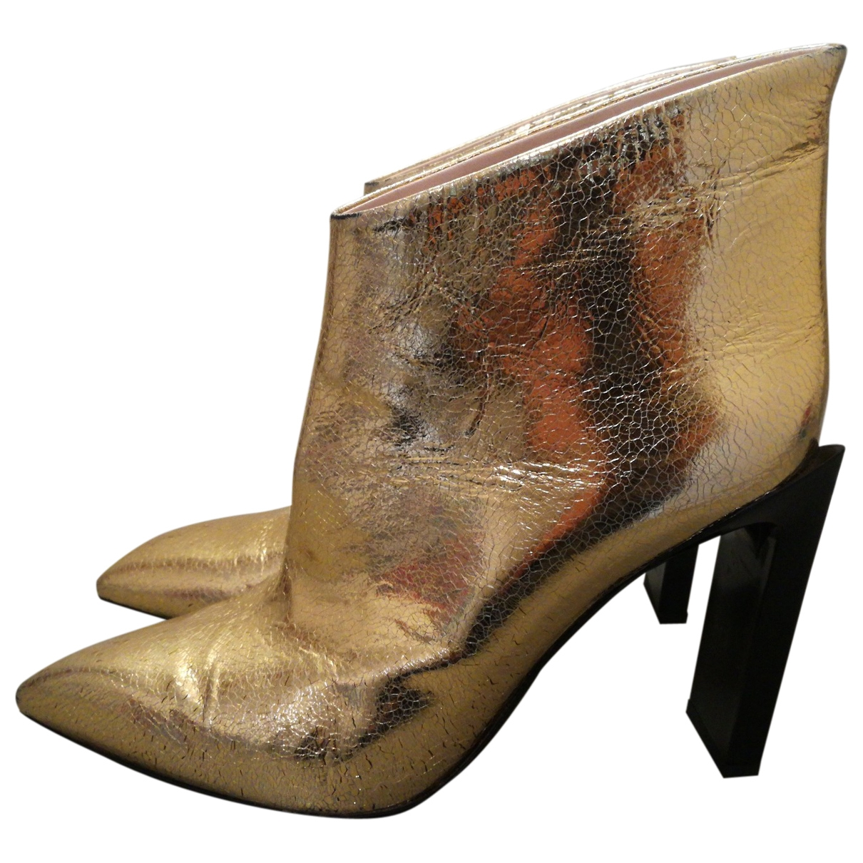 Roberto Cavalli \N Gold Leather Ankle boots for Women 39 EU